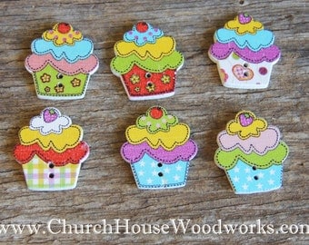 25 Cupcake Wood Buttons pack of 25 - Use for sewing, crafts, scrap booking, embellishments, gifts