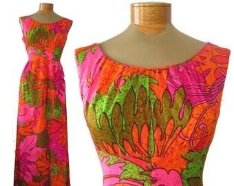 SALE Vintage 1960's Retro Hawaiian Tiki Neon Floral Psychedelic Long Maxi Dress by Sun Fashions of Hawaii