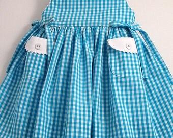 Turquoise Gingham Sleeveless Dress