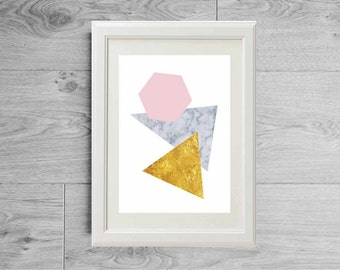 Modern geometric poster - Gold print - Marble print - Scandinavian poster - Pink art print - Minimalist abstract - Geometric room decor