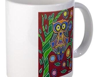 Coffee Mug - Owl - 15 oz.- By Artist A.V.Apostle
