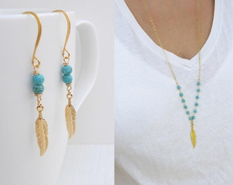 Gold feather necklace, Turquoise jewelry set, Gold feather earrings