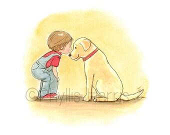 Boy and His Dog - Boy and Labrador Retriever Art