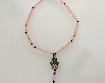 Czech Glass Bead Hamsa Necklace
