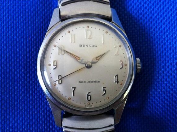 Vintage Men S Watch Benrus 3061 Silver Dial