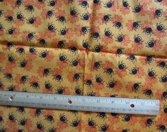 Orange Halloween Spiderweb/Spider Cotton Fabric by the Yard