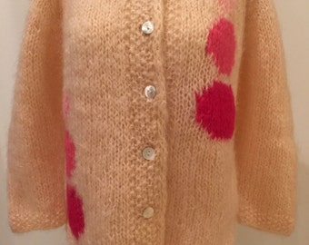 Pink Mohair Cardigan Sweater Hand Knit