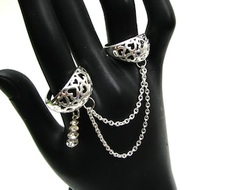 Silver Heart Rings - Chain Rings - Double Rings - Twin Rings - Two Finger Rings - Statement Rings - Silver Chain Rings - Silver Jewelry
