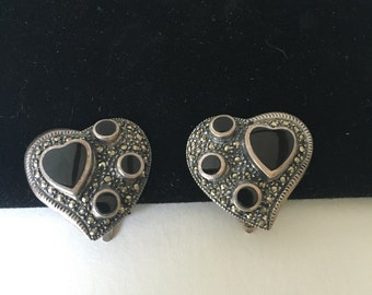 Sterling Silver Onyx and Hematite Clip-on Heart Earrings