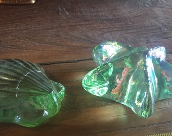 Vintage Nautical Paperweights  Starfish Shell Green Glass