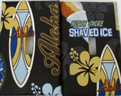 "CLEARANCE  Vintage Hawaiian Print Cloth Covered Switch-plate Set  ""Surf and Shave Ice"" in Black"