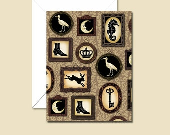 Silhouette Cards, Gothic Victorian Notecards, Cabinet of Curiosities Cards, Steampunk, Eccentric, Collector, Anthropology, Low Brow,