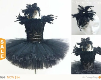 BLACK SWAN COSTUME 2pc Set, Tutu Dress, Crow, Raven, Blackbird, Hair Accessory, Girls, Halloween, Toddler, Ballet, Pageant, Ballerina, Kids