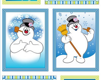 Frosty the Snowman Patch Panel - Silly Snowman Collection - Quilting Treasures Fabric 23956-X (sold by the panel)