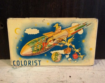 Fun Mid Century Paint Set Tin Box, Colorist, Space Ship, Rocket Ship, Outer Space, Yellow Birds, Vintage Tin Box