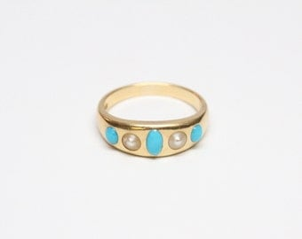 Victorian 18k Gold Turquoise and Pearl Ring - Outstanding Craftsmanship - Hallmarked
