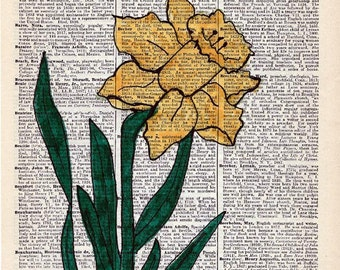 Hand Painted Artwork on Vintage Encyclopedia Page - Yellow Daffodils - Unique Wall Decor