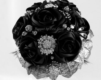 Black Bouquet, Silver Bouquet, Black Bridal Bouquet, Black Brooch Bouquet, Alternative Wedding Bouquet, Goth Bouquet, Untraditional Bouquet