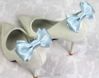 Something Blue Shoe Clips, Light Blue Bow Shoe Clip, Blue Wedding Accessories Shoes Clip, Blue Bow Clip Shoes