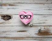 Felt Valentine's Day Nerdy Heart ID Retractable Badge Reel/Pink Valentine's Day Nerdy Heart Retractable ID Badge Holder with Clip