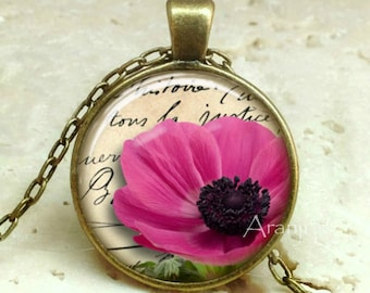 Pink poppy necklace, pink flower pendant, pink poppy necklace, pink poppy pendant, flower Pendant #PL120P