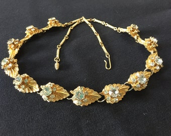 Vintage Gold Tone Leaf And Rhinestone Choker Necklace Costume Jewelry Fall Wedding
