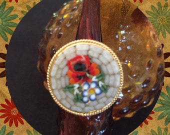 Micro Mosaic Ring Gold Toned Ring Mosaic Jewelry Red Poppy Flower Mosaic Ring
