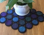 Jewel Tone Stained Glass Penny Rug ~ Table Runner ~ Mug Mat  ~ Can be made from ~ Pin Loom Weaving ~ Wool ~ WoolFelt