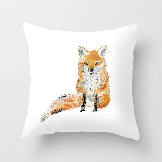 Fox Throw Pillow Cover fox pillow cover fox art pillow fox