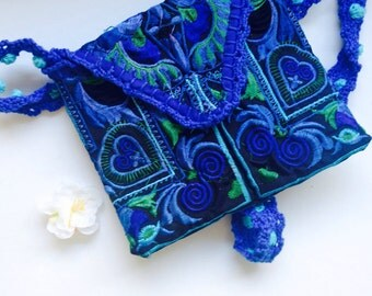 Blue embroidered bag