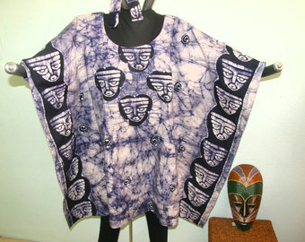 BATIK MASK DESIGN Tunic, Caftan, Dress or Top - Ethnic masks on front, back and borders.  Back is different.  Batik veining.