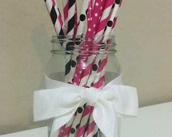 25 Hot Pink & Black Paper Straws / Cake Pop Sticks