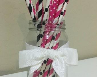 25 Hot Pink & Black Paper Straws / Cake Pop Sticks
