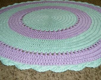 Crochet Nursery Rug, Playroom Rug, Area Rug, Nursery Decor, Mermaid Nursery Doily Rug, Round Rug, Lavender Mint, Photo Prop