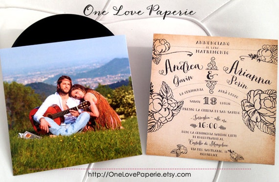 Custom 7in vinyl record wedding invitation / 45 rpm wedding invitation