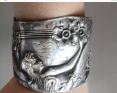 65% OFF SALE Antique Solid Sterling Silver 925 Unger Bros Queen of the Flowers Repoussé Victorian Art Nouveau Nymph Goddess Maiden Wide Cuff