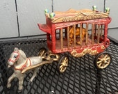 """SALE-Vintage Cast Iron """"Overland Circus"""" Horse Drawn Wagon and Tiger"""