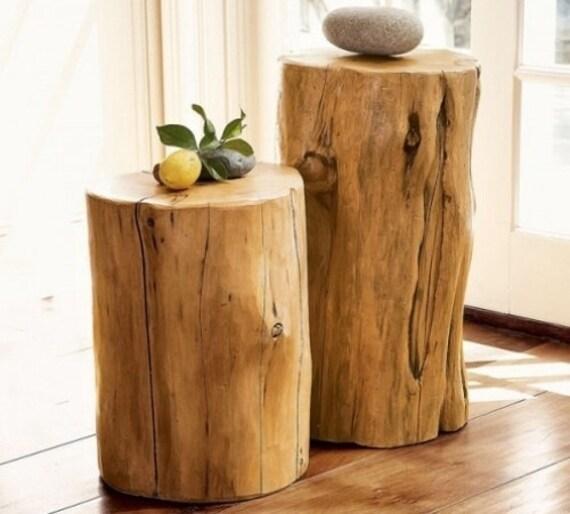 Silver Tree Stump Coffee Table: Wood Tree Log Trunk Stump Pedestal Table Tables Stool Seat