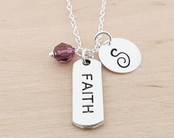 Faith Necklace - Faith Charm - Personalized Initial Necklace - Sterling Silver Jewelry - Swarovski Birthstone Necklace - Gift for Her