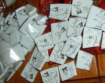 40% Off, Broken China, Mosaic Pieces, Mosaic Supplies, Gray and White China, Bows,  Hand Cut China, Jewelry Supplies
