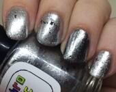 Witness Me Nail Polish - shiny and chrome with black shreds