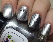 Witness Me Nail Polish - shiny and chrome with black shreds