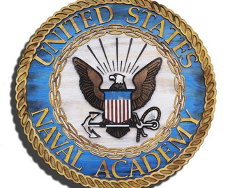 United States Naval Academy with 3D from reclaimed wood, vintage, art, weathered, recycled, home decor, Naval Academy, Man Cave, blue, brown