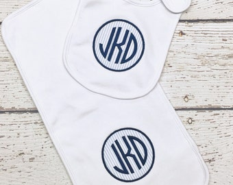 Monogrammed Bib and Burp Set