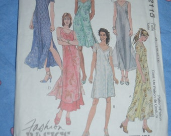 McCalls 2115 Misses Dress and Slip Dress both in three lengths sewing pattern - UNCUT - Sizes 10 12 14