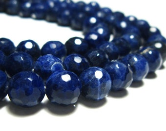 """AA-Sodalite Faceted Disco Round Bolls- 7""""Strand -Stones measure- 8mm"""