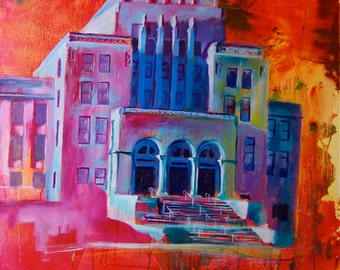 City Hall San Angelo Texas Giclee Canvas Landmark Print Wall Art Colorful Abstract Pop Art