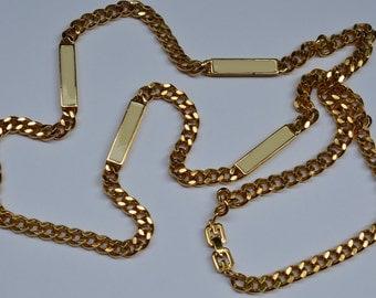 Vintage Givenchy Gold Enamel Sautoir Necklace Gold Plated Chain Paris