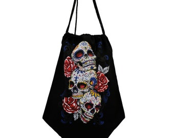Black Tote Bag Drawstring Backpack Sack with 3 Skulls & Roses Design