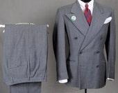 30s 40s Gray DB Pinstripe Suit - Baby Blue & Black Stripes